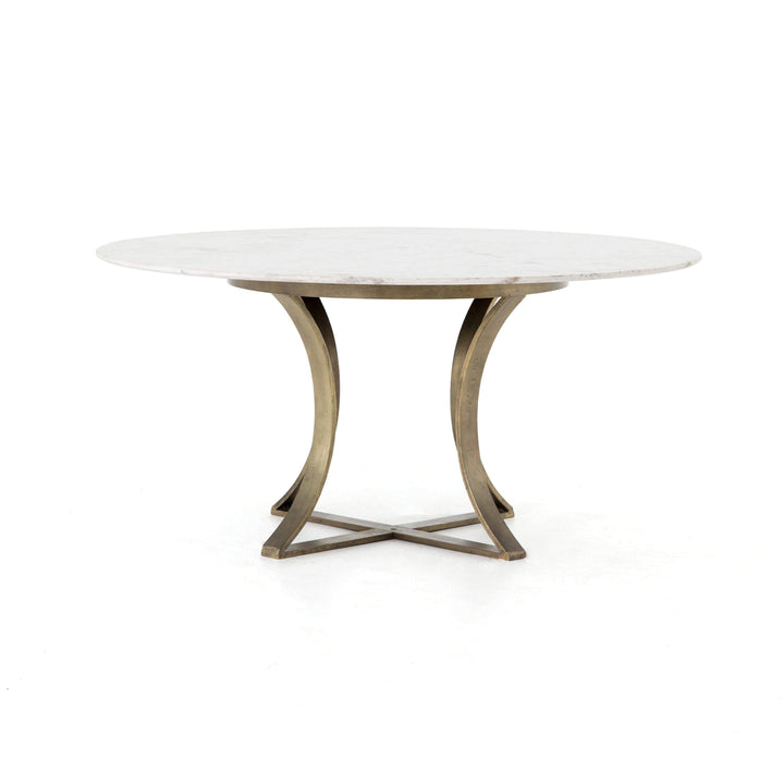 "Gage 60"" Dining Table (Polished White Marble) - Parker Gwen"