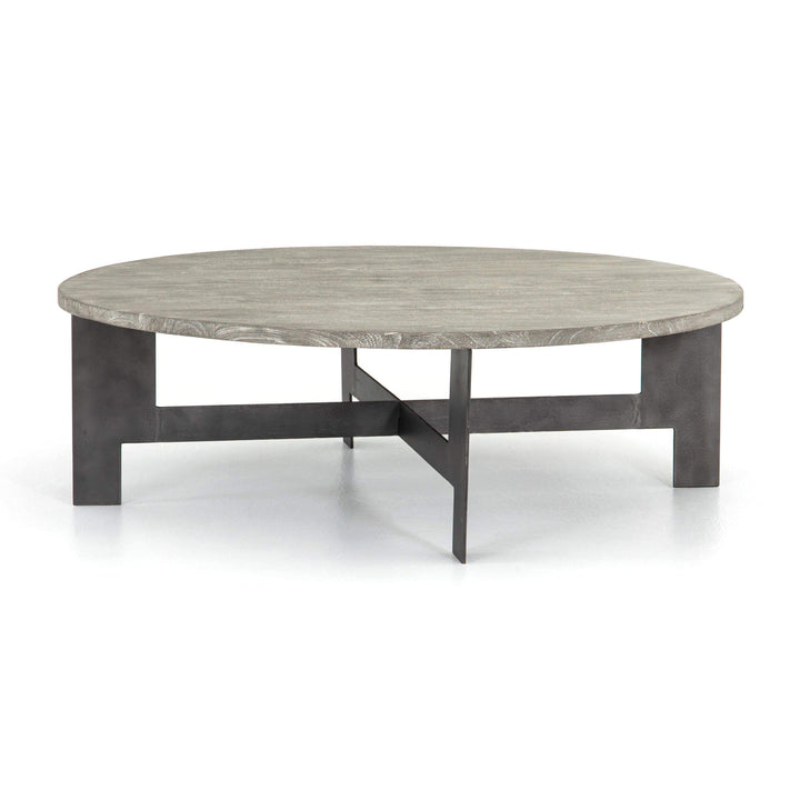 "Round Wood & Iron 48"" Coffee Table - Parker Gwen"