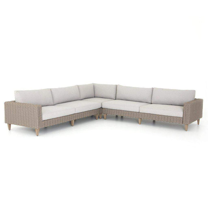 Remi Outdoor Rope Weave 3 Piece Sectional (Stone Grey) - Parker Gwen