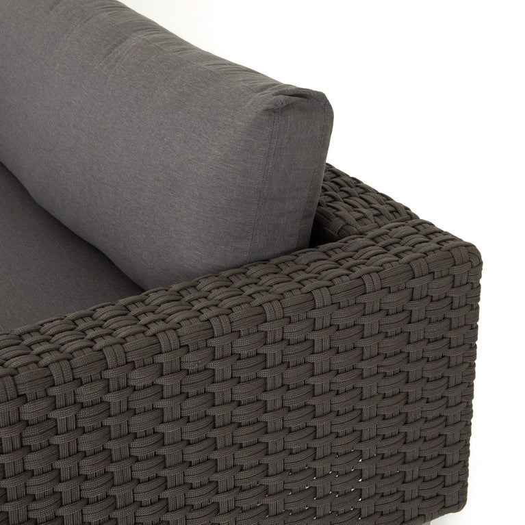Remi Outdoor Rope Weave 3 Piece Sectional (Charcoal) - Parker Gwen
