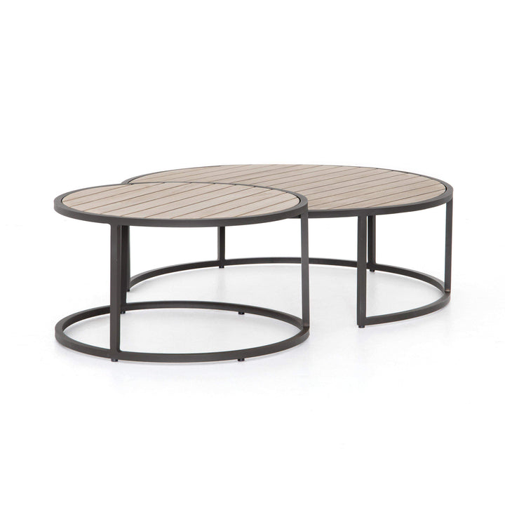 "Alda 40"" Outdoor Nesting Table (Washed Brown) - Parker Gwen"