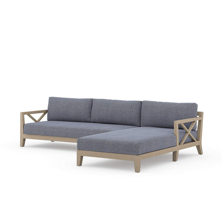 Huntington Outdoor Left or Right Chaise Sectional (Washed Brown & Navy)