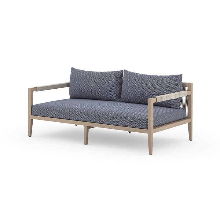 "Sherwood 63"" Outdoor Sofa (Washed Brown/Faye Navy)"