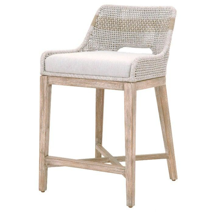 Tapestry Bar or Counter Stool (Taupe & White Flat Rope) | Stool | parker-gwen