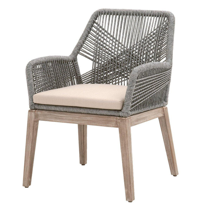 Loom Rope Arm Chair: Set of 2 (Platinum Rope) | Dining Chair | parker-gwen