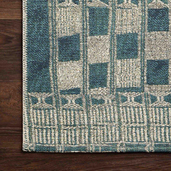 Loloi Mika Collection Indoor/Outdoor Rugs - Multiple Sizes (Blue/Ivory)