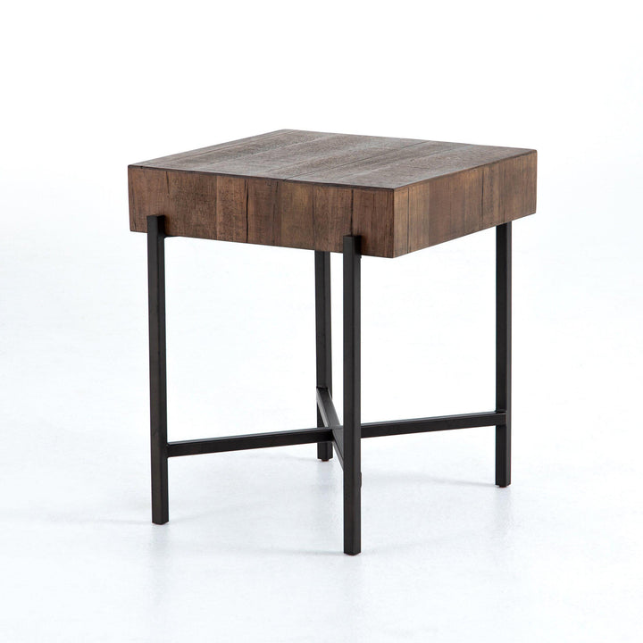 Tinsley Square Reclaimed End Table (Natural Brown) | Side Table | parker-gwen