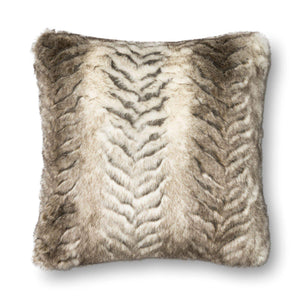 "Loloi Faux Fur Pillow 22"" (White/Grey) - Parker Gwen"