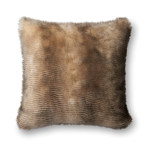 "Loloi Faux Fur Pillow 22"" (Black/Cream) 