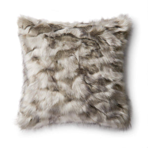 "LOLOI FAUX FUR PILLOW: 22"" (Grey)"