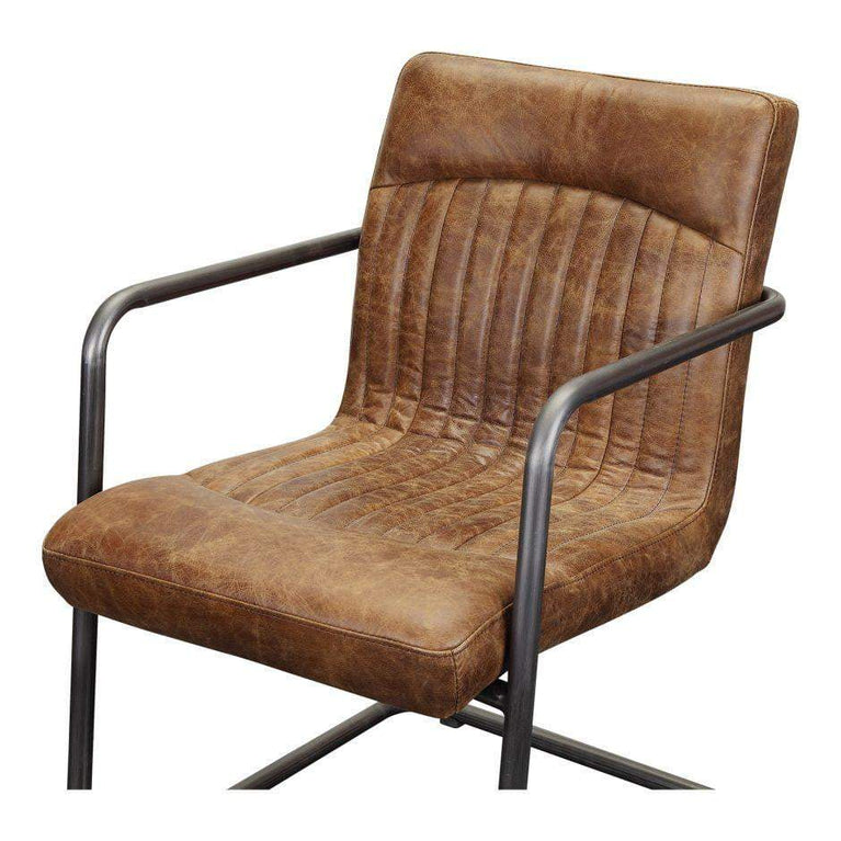Ansel Leather Arm Chair (Whiskey Brown) - Set of 2 - Parker Gwen