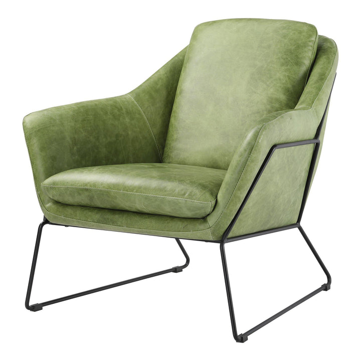 Greer Leather Club Chair (Green) | Accent Chair | parker-gwen.