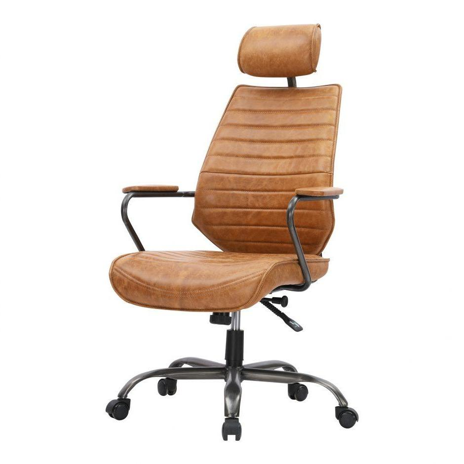 Executive Swivel Leather Office Chair (Cognac)