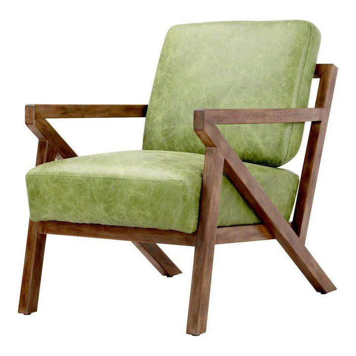 Drexel Leather Arm Accent Chair (Green) - Parker Gwen