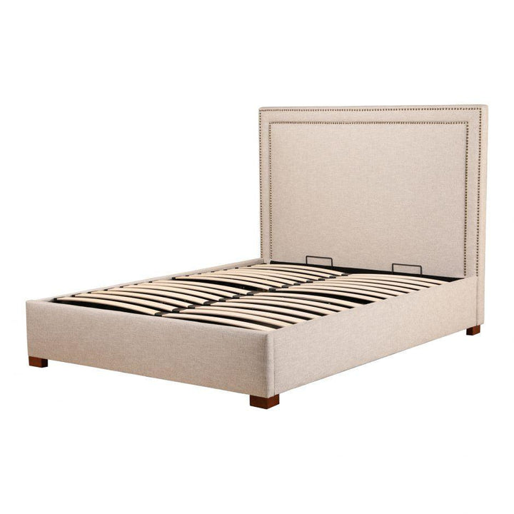 Kenzo Storage Queen or King Upholstered Bed (Ecru)