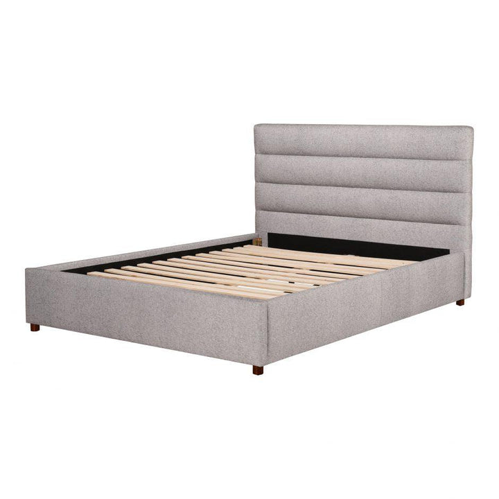 Takio Channel Queen or King Bed (Light Grey)
