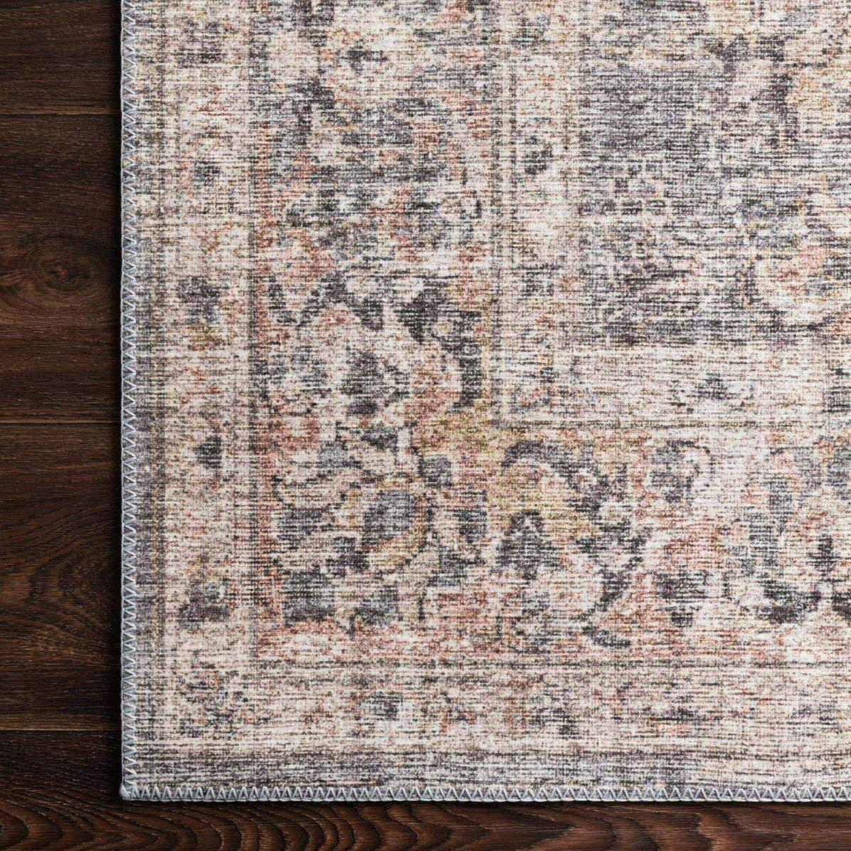Skye Collection Printed Area Rugs - Multiple Sizes & Runners (Grey/Apricot) | Indoor | parker-gwen