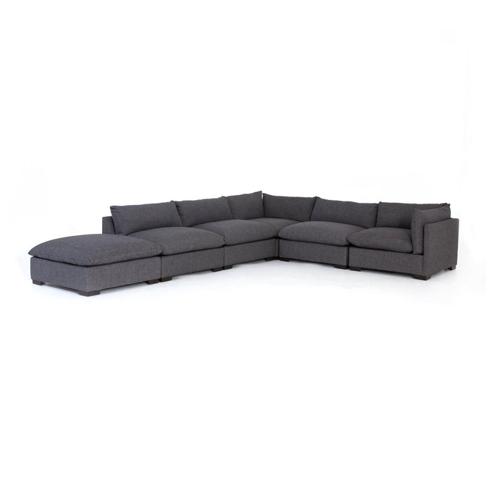 Westwood 5-Piece Sectional with Ottoman Chaise (Bennett Charcoal) | Sectional | parker-gwen