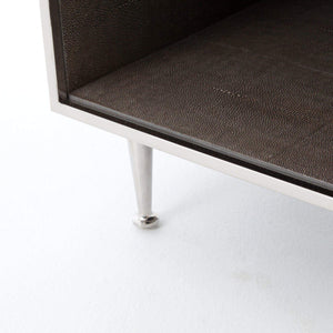 Shagreen Bedside Table (Stainless) - Bentley