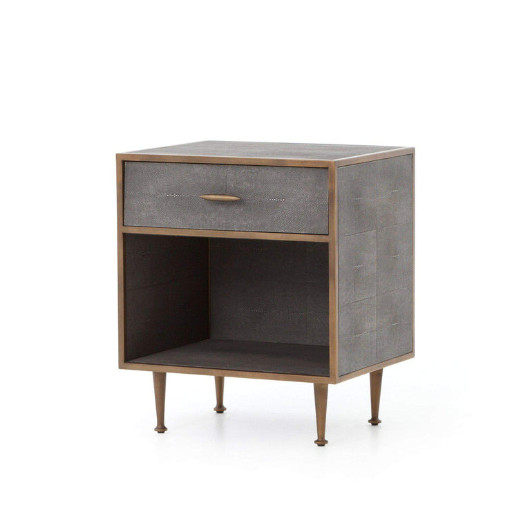 Shagreen Bedside Table (Antique Brass) - Bentley - Parker Gwen