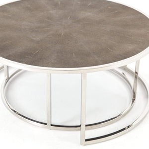 Shagreen Nesting Coffee Table (Stainless Steel) - Parker Gwen