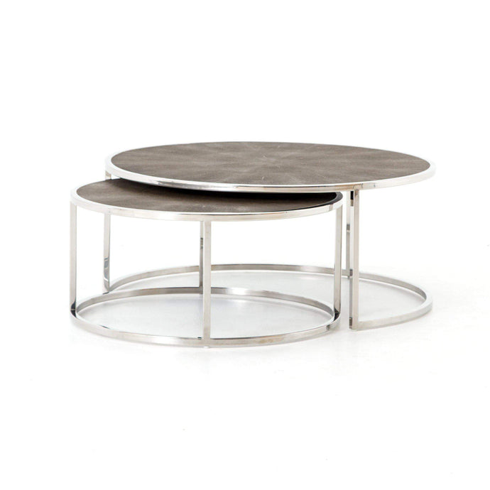 Shagreen Nesting Coffee Table (Stainless Steel)