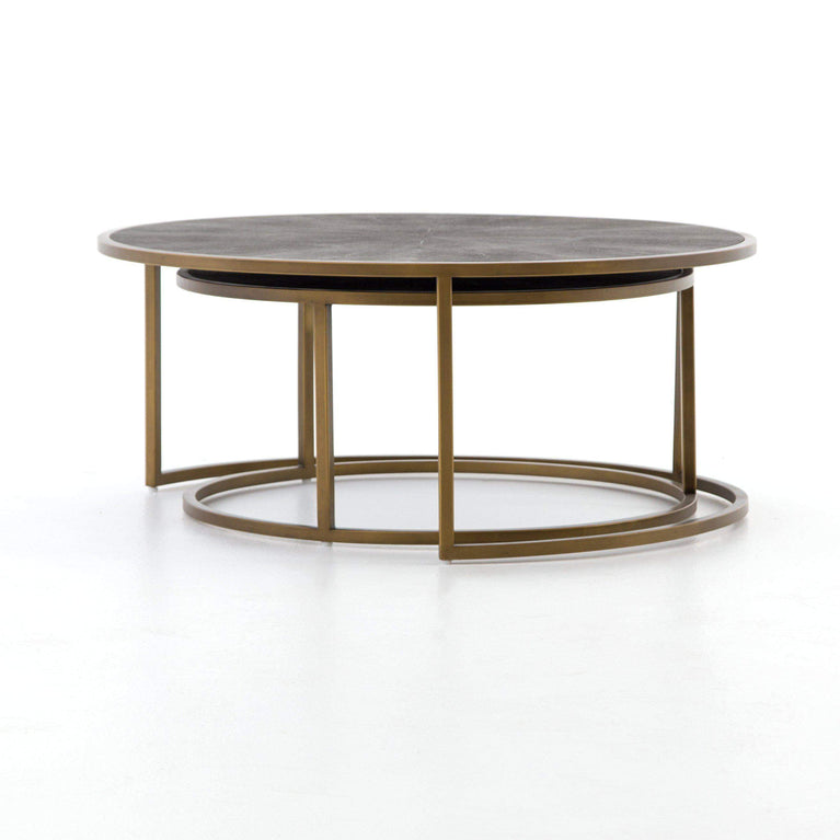Shagreen Nesting Coffee Table (Antique Brass) - Parker Gwen