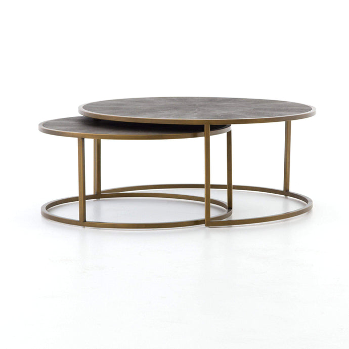 Shagreen Nesting Coffee Table (Antique Brass)