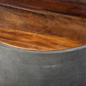 "Crosby 38"" Round Reclaimed & Shagreen Coffee Table - Bina Collection - Parker Gwen"