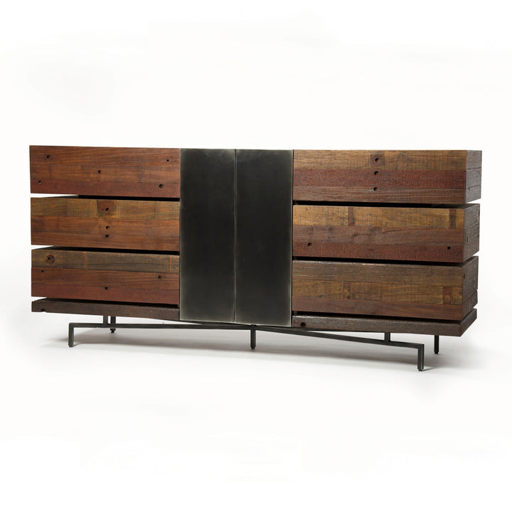 "Morrisey 75"" Reclaimed Wood & Iron Dresser - Bina Collection 