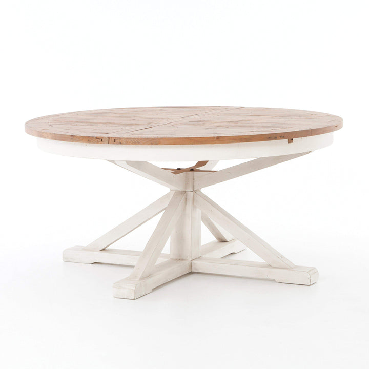 "Cintra Extension 63""-79"" Round Dining Table (Natural/White)"