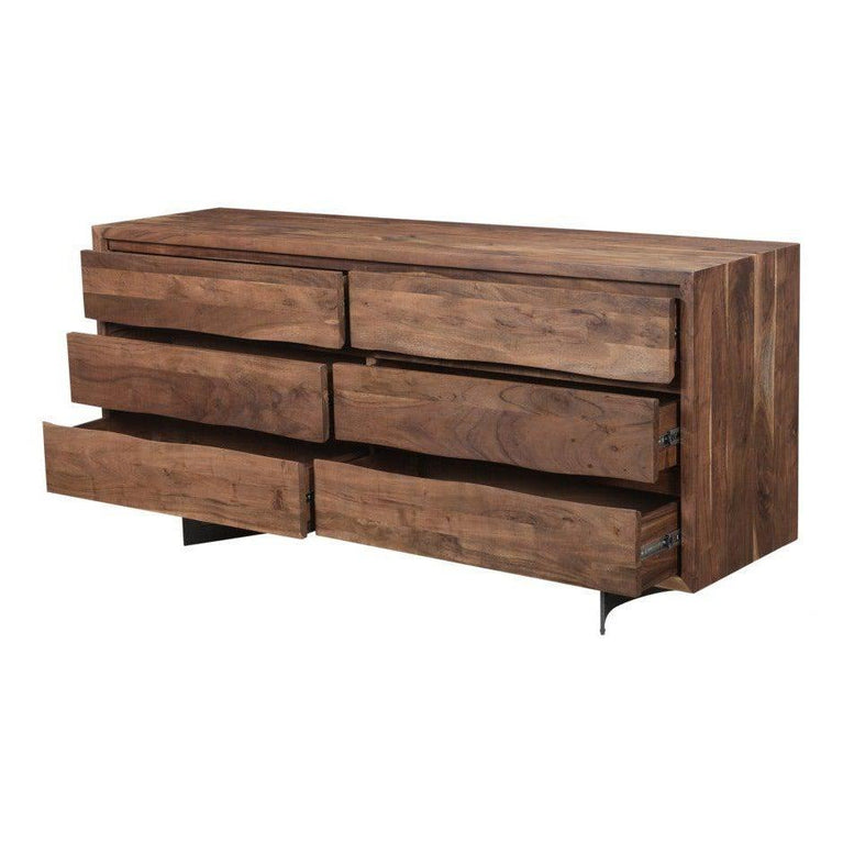 "Bent 6-Drawer 72"" Live Edge Dresser (Smoked)"