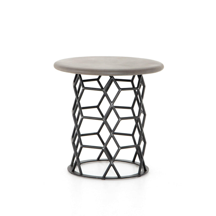 "Arden 22"" Round Concrete and Iron End Table - Parker Gwen"