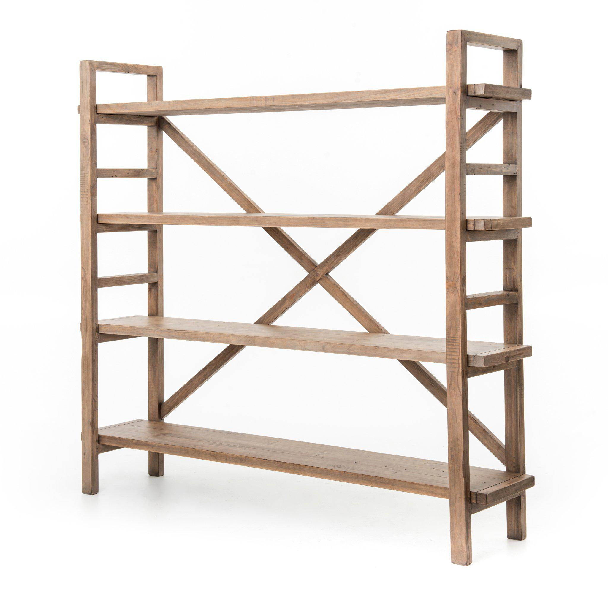 Toscana Large Reclaimed Wood Bookshelf (Sundried Wheat) | Bookcase | parker-gwen