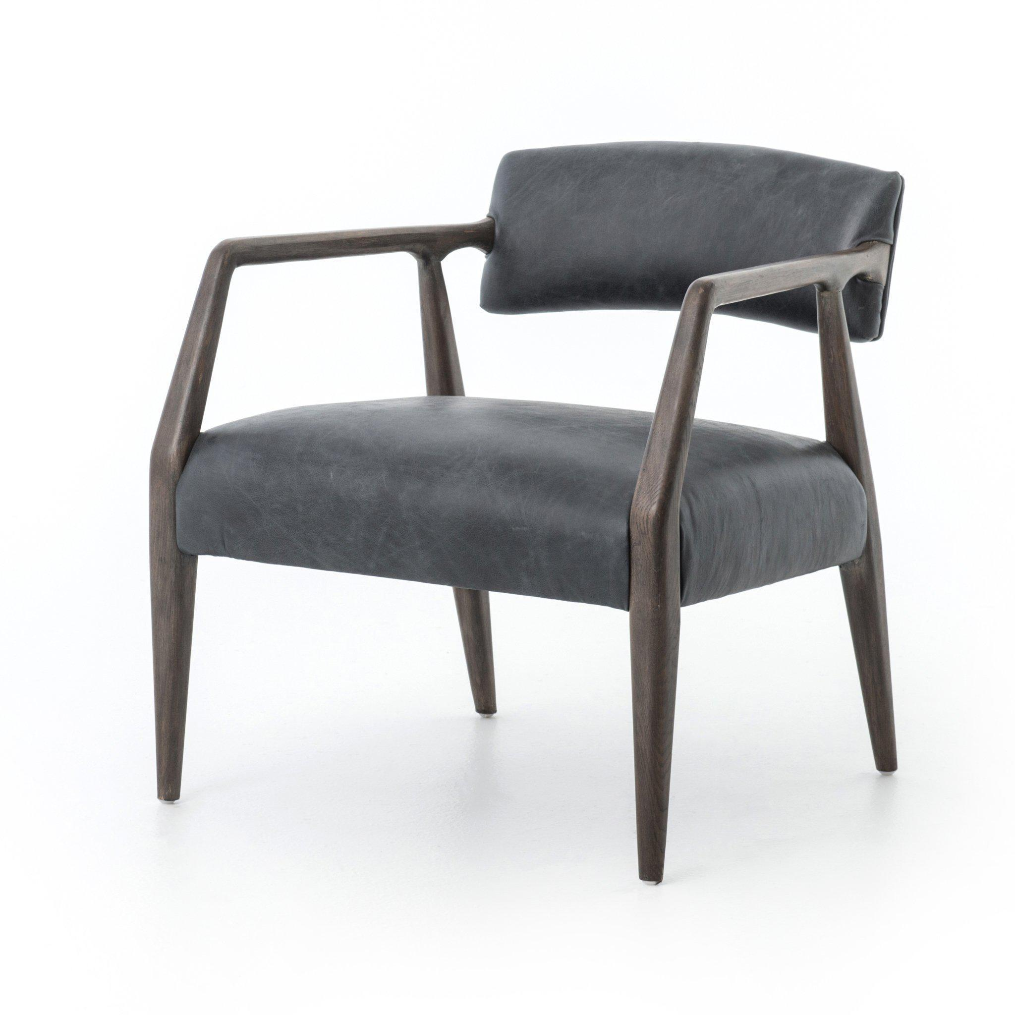 Abbott Collection Tyler Arm Chair: Chaps Ebony-Dining Chair-Parker Gwen