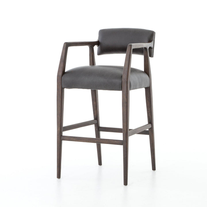 Tyler Bar & Counter Leather Stool (Chaps Ebony) - Abbott Collection | Stool | parker-gwen