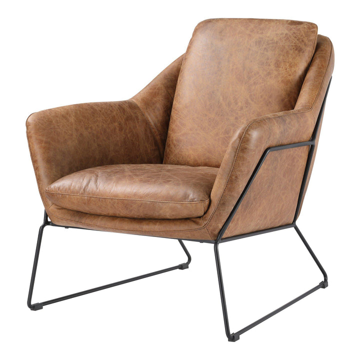 Greer Leather Club Chair (Cappuccino) | Accent Chair | parker-gwen.