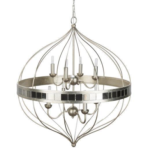 Ari Silver Antiqued Gilded Metal Mirrored Chandelier | Chandelier | parker-gwen
