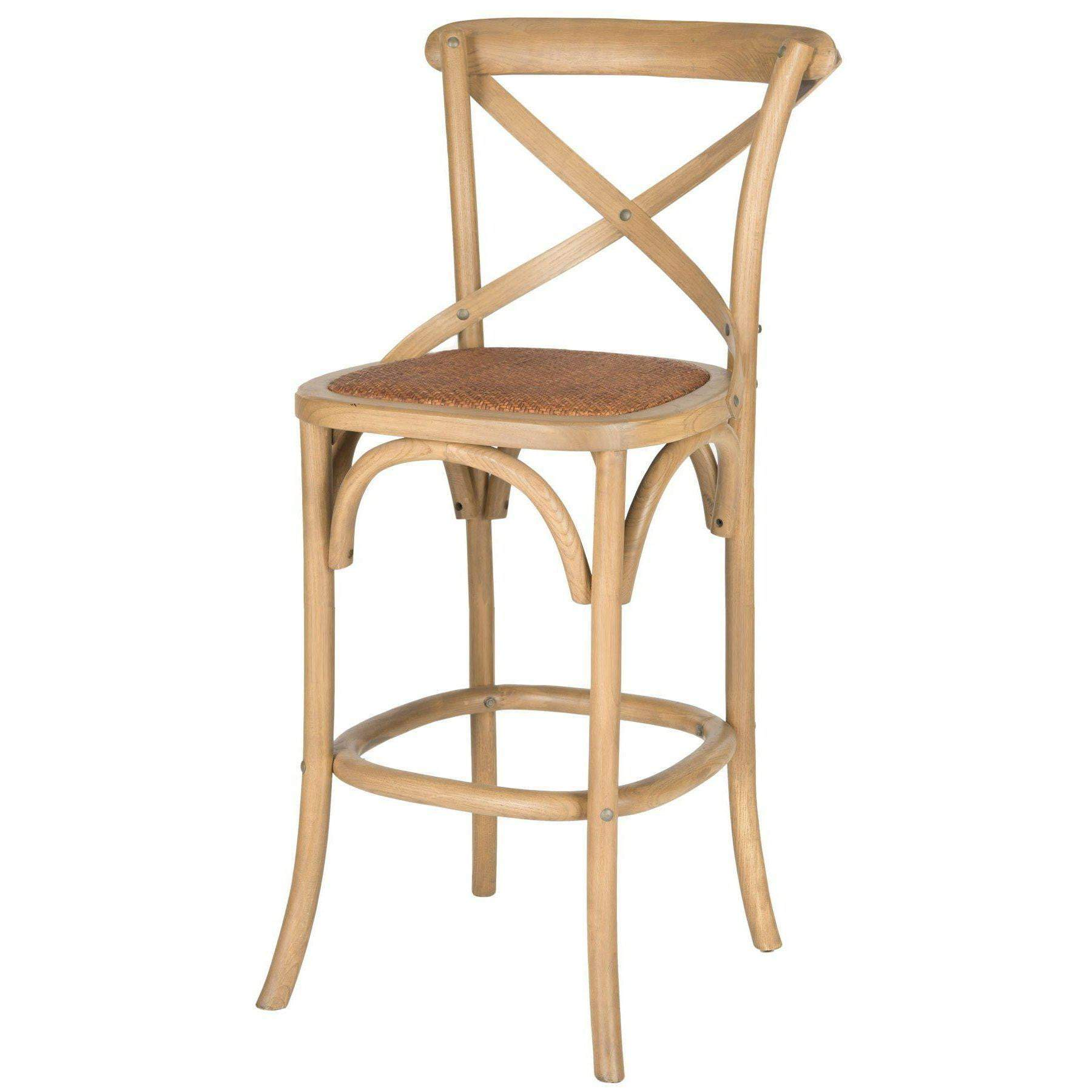 Eleanor X Back Bar Stool (Weathered Oak)