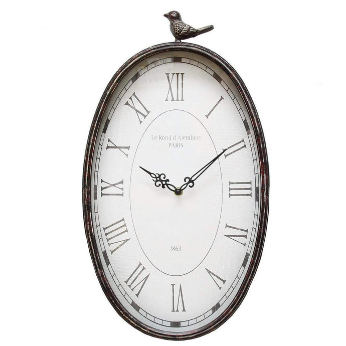 Antique Oval Bird Clock-Wall Clock-Parker Gwen