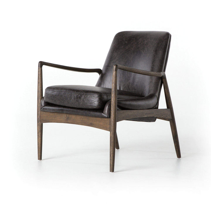 Ashford Collection Braden Leather Chair: Durango Smoke-Accent Chair-Parker Gwen