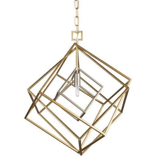 "Blair 25""H x 20.9""W 1-Light Lantern Chandelier (Gold with Silver)"