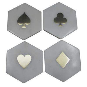 Banswara Hexa Marble Coasters With Brass Inlay 'Clubs'-Bar Accessory-Parker Gwen