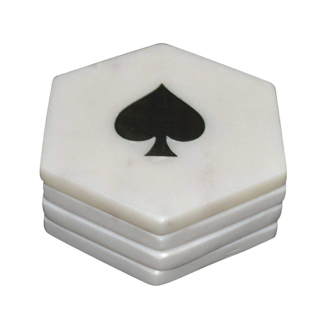 Banswara Hexa Marble Coasters With Brass Inlay 'Clubs' - Parker Gwen