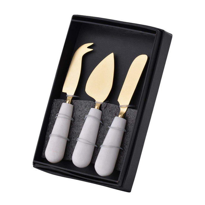 Banswara Marble Cheese Knife Set-Serving Pieces-Parker Gwen