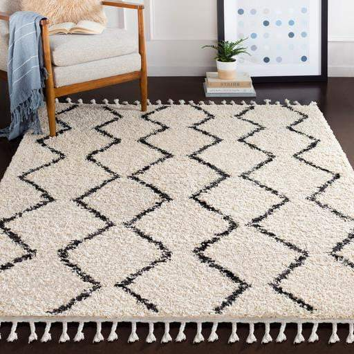 Ivory Moroccan Berber Shag Rug Collection - Zig Zag (Multiple Sizes & Runner) - Parker Gwen