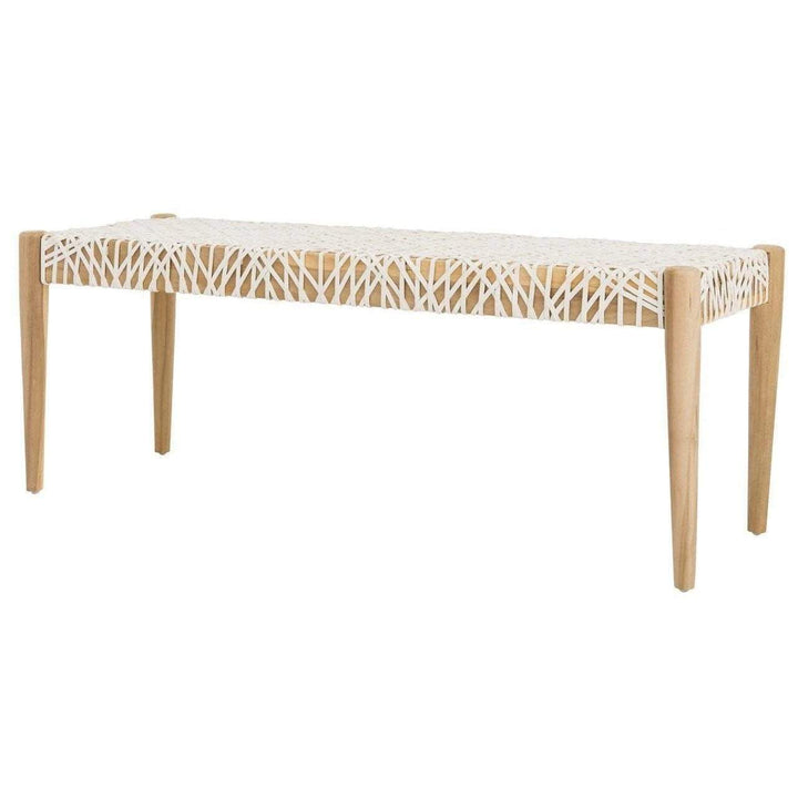 "Bandelier Leather Weave 47"" Bench-Bench-Parker Gwen"