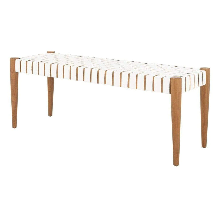 "Amalia Leather Weave 47"" Bench (White/Natural)-Bench-Parker Gwen"