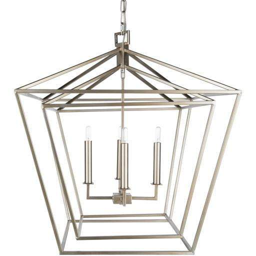 "Bellair 28""H x 24.4""W 4-Light Lantern Chandelier (Silver)"