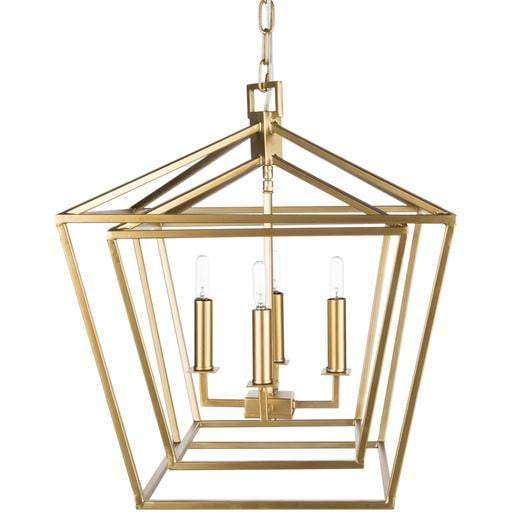 "Bellair 28""H x 24.4""W 4-Light Lantern Chandelier (Gold)"
